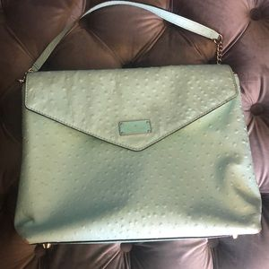 KATE SPADE Turquoise Aqua Ostrich Shoulder Bag